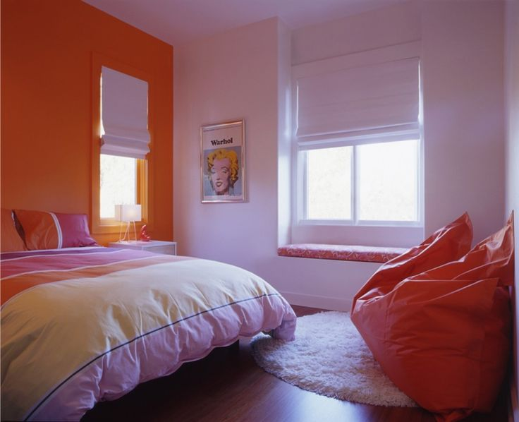 Interior Design Contemporary Bedroom Simple With White And Orange Wall Plus Colorful Blanket Tips