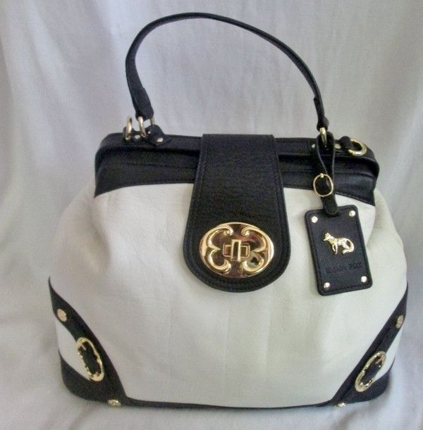 EMMA FOX WHITE Black Leather Satchel Medical Bag Purse Briefcase Clutch