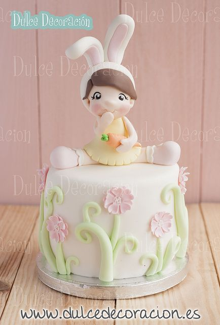 Bunny girl easter cake