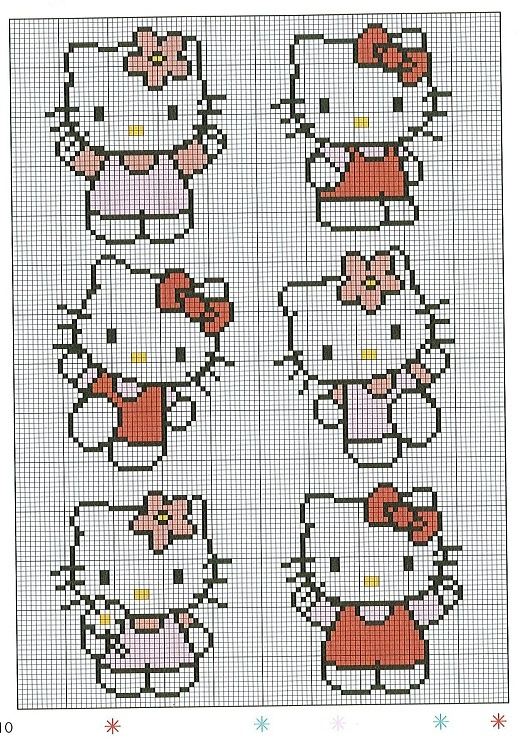 Free Hello Kitty Cross Stitch Chart or Hama Perler Bead Pattern