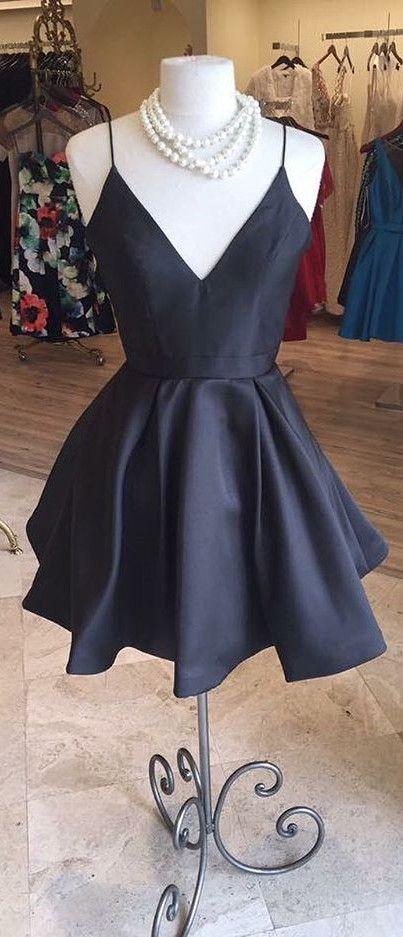 little black dress, 2017 short homecoming dress, spaghetti straps short black homecoming dress, short black homecoming dress