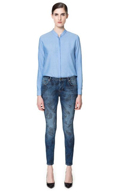PRINTED SLIM FIT JEANS - Jeans - Woman - ZARA United States