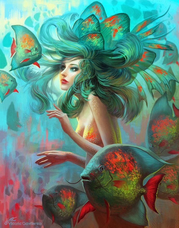 by viccolatteMermaid Hair, Tattoo Pattern, Mermaid Art, Colors, Fish, Beautiful Tattoo, Underwater World, Hair Looks, The Sea