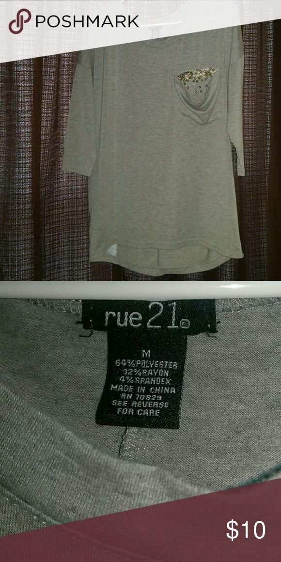 Mid sleeve oversized shirt Cute, excellent condition, jewels in the pocket Rue 21 Tops Blouses
