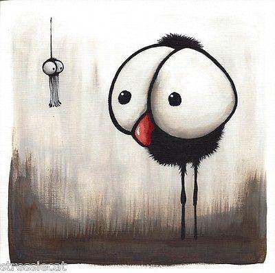 Original Acrylic Painting Whimsical Bird Dark Illustration Crow Spider Hidden   eBay