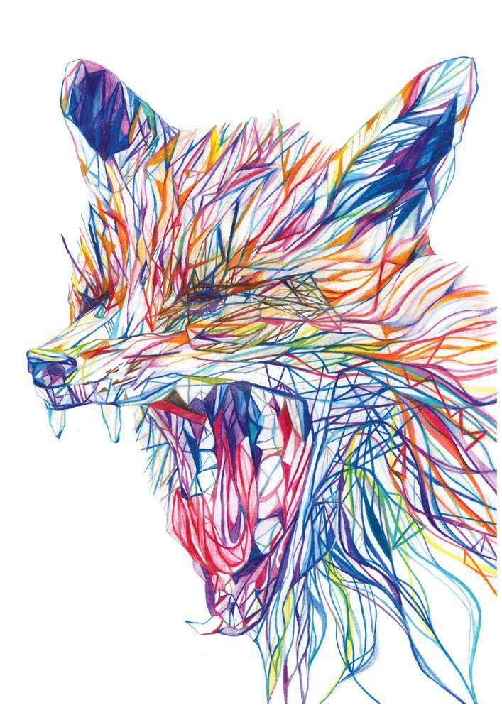 Yawning Fox by Claudine O'Sullivan A3 signed print on 200gsm gesso paper €37 from JamArtPrints.com. International shipping - #jamartfactory #jamartprints