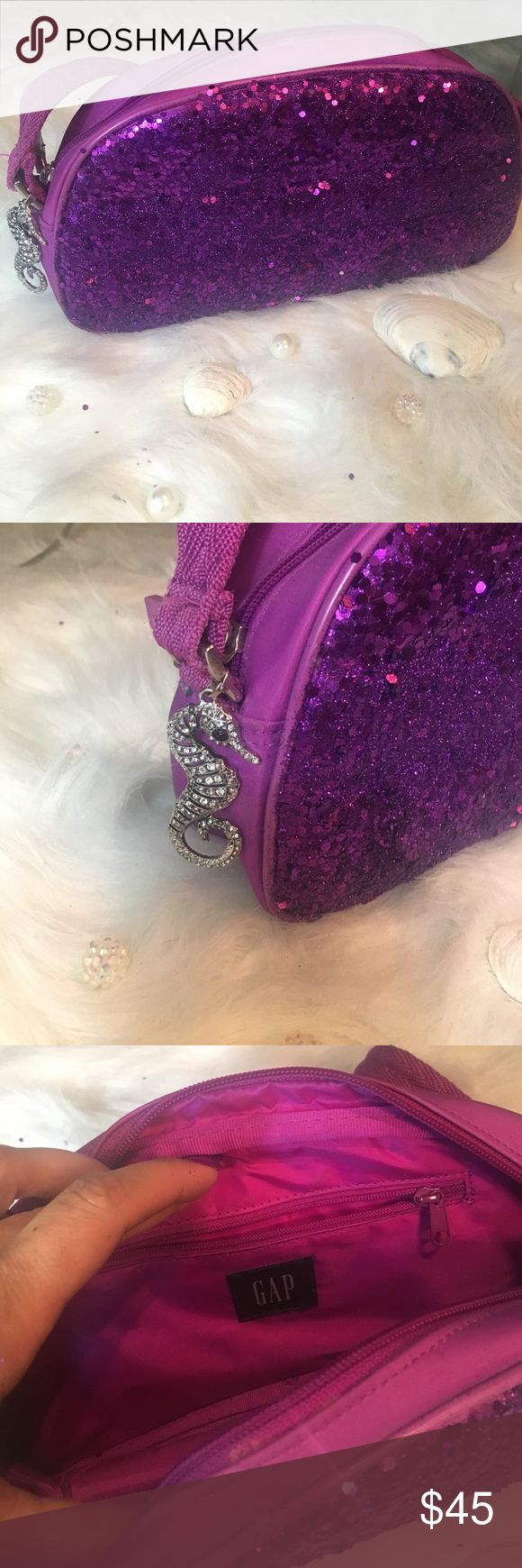 Gap Purse •Authentic Gap Purse •Beautiful purple sequins and glitter • gorgeous seahorse accent •perfect summer bag GAP Bags Shoulder Bags