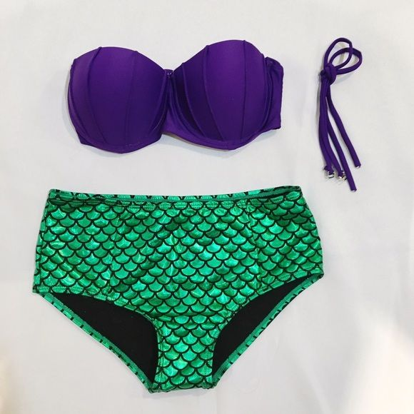 Metallic little mermaid Ariel swimsuit bikini Pics to come. Not VS tagged for exposure. Fits a 32-34, B-C; push up Victoria's Secret Swim Bikinis
