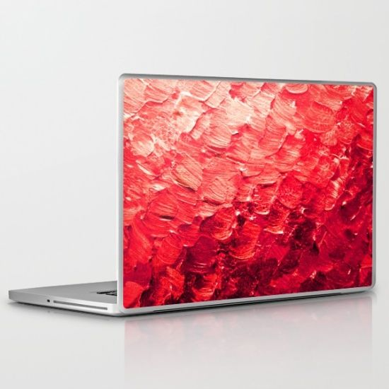 MERMAID SCALES 4 Red Vibrant Ocean Waves Splash Crimson Strawberry Summer Ombre Abstract Painting iPad Tablet Skin or iPad Mini Skin Vinyl Decal by Ebi Emporium on Society 6, #tech #techie #skin #ipadkin #ipadmini #ipad #vinylskin #decal #red #ombre #abstractart #mermaid #office #laptopskin #laptopdecal #laptop