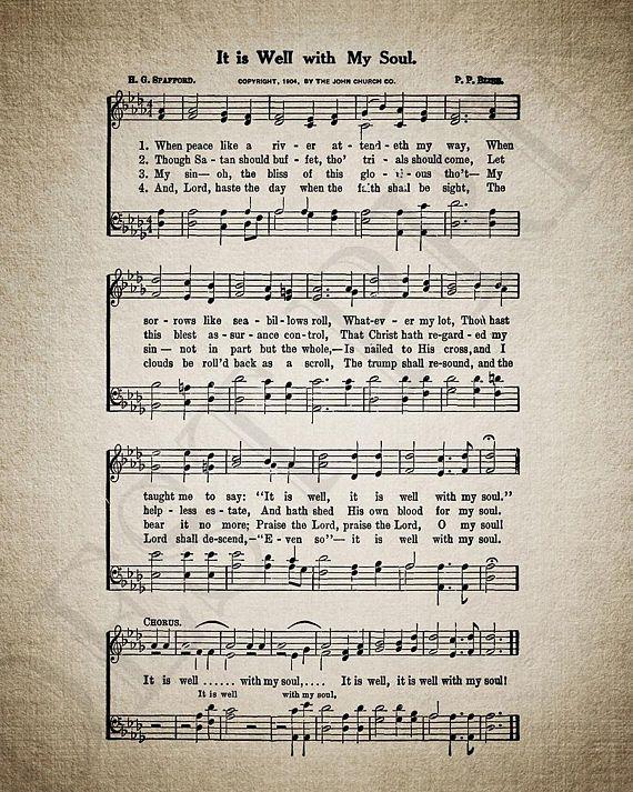 It Is Well With My Soul Hymn Print Sheet Music Hymn Art Hymn