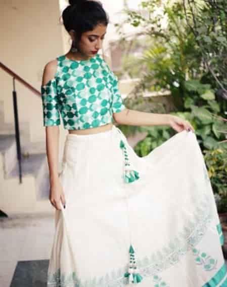 Matargashti Handloom Block Printed Lehenga with Raw Silk Cold Shoulder Blouse ₹ 14500 by Masakali on SummerLabel. Sells Women. Fashion, Lifestyle Store. Bollywood inspired indian wear.