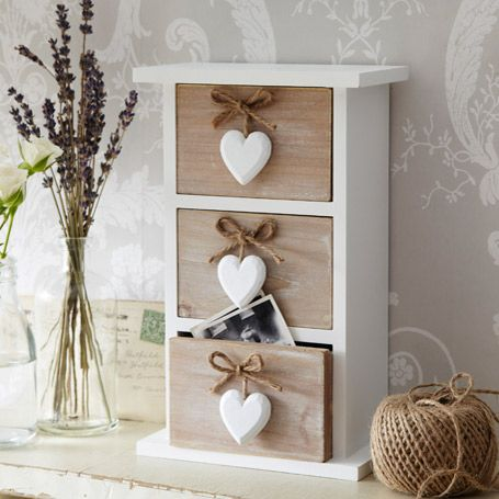 Hanging Heart 3 Drawer Jewellery Box