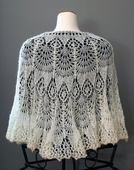 HANDKNIT LACE Victorian Style SHAWL Glass Beaded Wedding ...