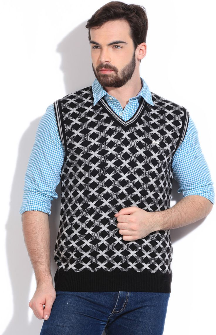 Integriti Geometric Print V-neck Casual Men's Sweater  #winter #jackets #checkered #fashion #integritifashion #sweaters