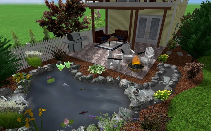 Koi pond and patio under deck patio pinterest for Balcony koi pond