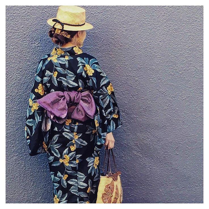 着物会浴衣の日 . , #芝川ビル でベトナム料理のビアガーデン . 久しぶりすぎて、焦って着たから 汗だく . . #着物会#浴衣#兵児帯#カンカン帽#ボタニカル#着物#カゴバッグ#JAMINPUECH#アッシュペー#ジャマンピエッシュ
