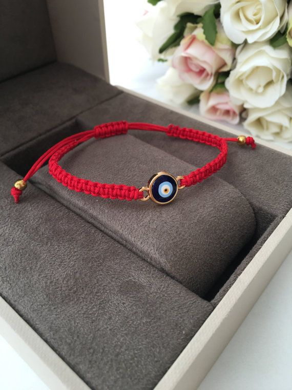 Red string bracelet, evil eye bracelet, zirconia bracelet, blue evil eye beads, red cord bracelet, nazar boncuk jewelry, evil eye jewelry, adjustable jewelry This evil eye bracelet is totally handmade. It is red color macramé which made by handmade and it is adjustable. Since it