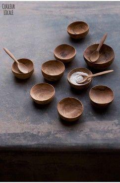 Olive wooden little bowls