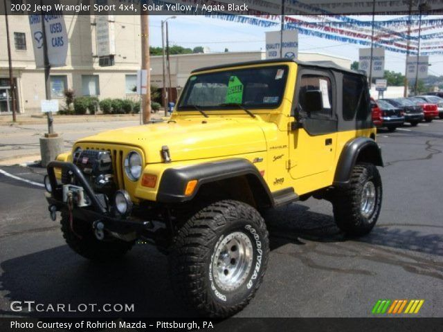 solar yellow 2002 jeep wrangler sport 4x4 with agate black. Black Bedroom Furniture Sets. Home Design Ideas