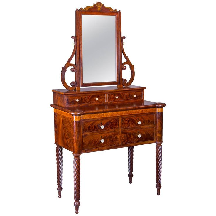 Mahogany and Birds Eye Maple Dressing Table with Mirror, Baltimore | From a unique collection of antique and modern vanities at https://www.1stdibs.com/furniture/tables/vanities/