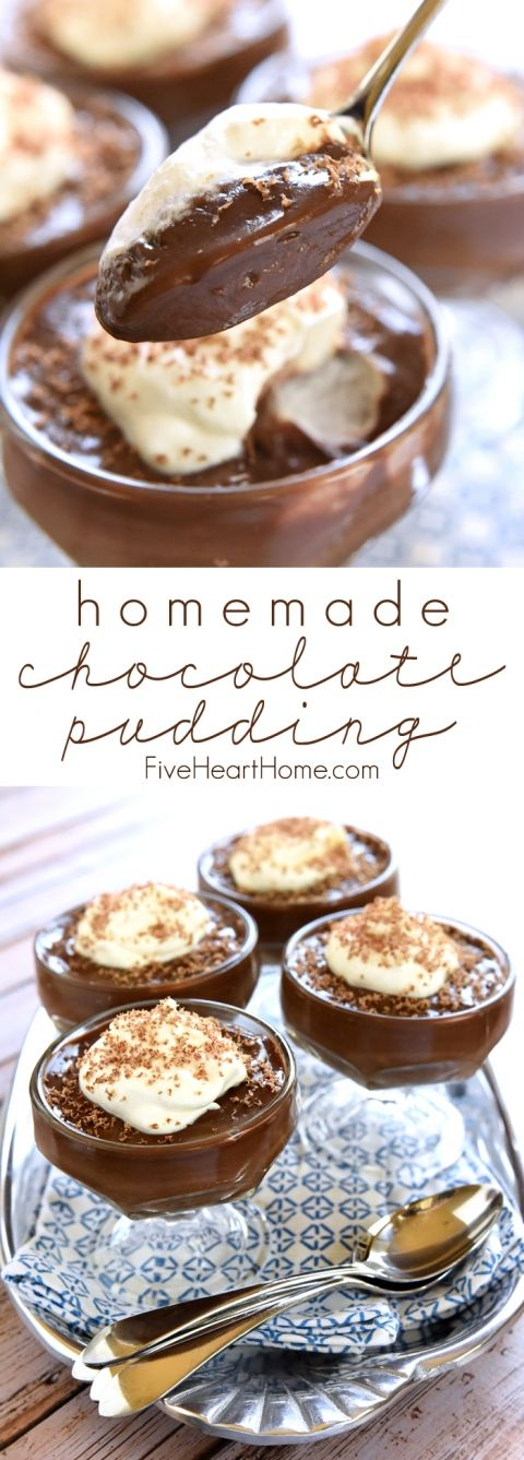 Homemade Chocolate Pudding ~ this classic recipe is not only thick and silky, but it's also deceptively easy to make! | FiveHeartHome.com