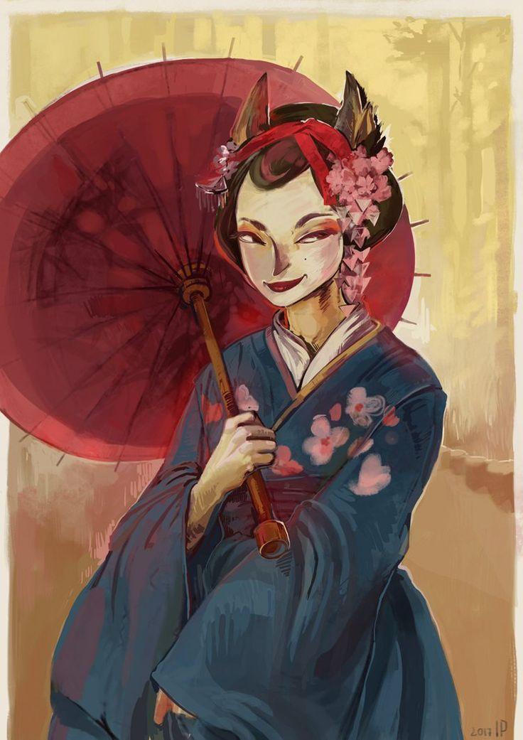 Girl with Japanese Umbrella by Madjsteie.deviantart.com on @DeviantArt
