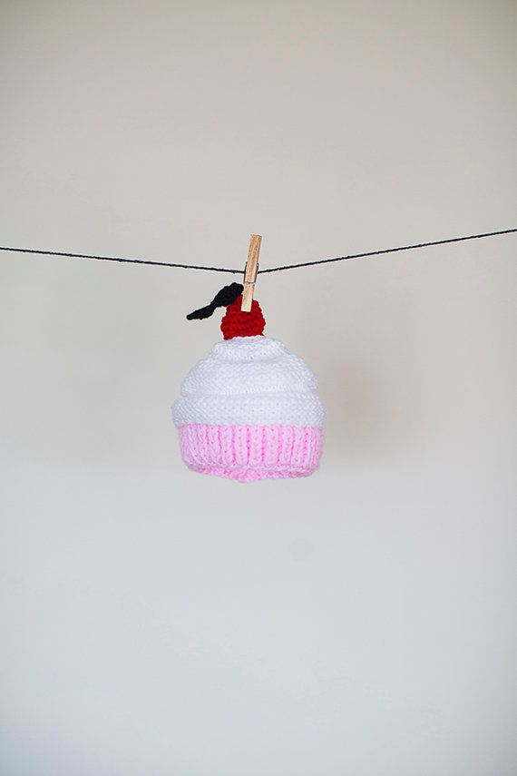 Knitted Cupcake Hat, Newborn Photo Prop, Cupcake Hat, Baby cupcake Hat