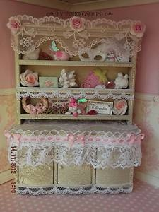 Shabby Chic Doll House Furniture OOAK Kitchen Dining Room Dresser Cgi Ebay