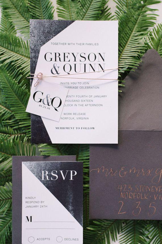 25+ best ideas about modern invitations on pinterest   wedding, Wedding invitations