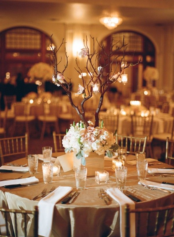 Square Floral Reception Centerpiece With Tall Branches | photography by http://regcampbell.com/