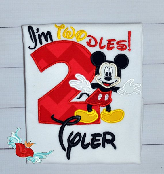Mickey Mouse Inspired Birthday Shirt Applique by bowsandgirls