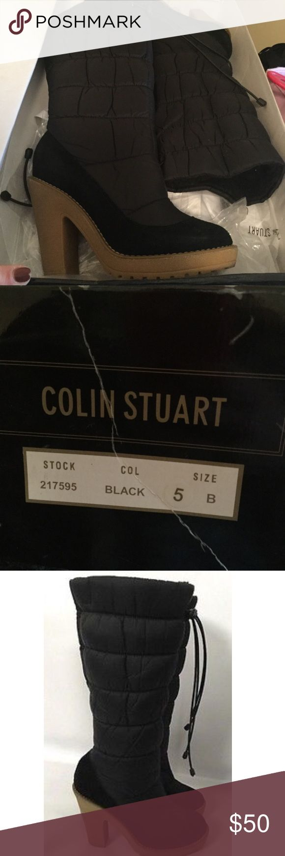 Colin Stuart NEW Black Boots Puffy Quit Nylon Sz 5 Brand New in box. Colin Stuart Boots. Quilted Puffer Style. Rubber Heel/Sole. Black Knee High. Size 5. (Brown Boots pictured is only for reference) Colin Stuart Shoes Winter & Rain Boots