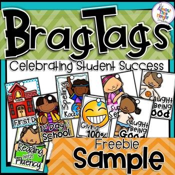 Are you thinking about trying brag tags in you classroom this year as a way of acknowledge your students achievements and/or behavior.  Check out this free sample pack that you can download and see if they will suit.