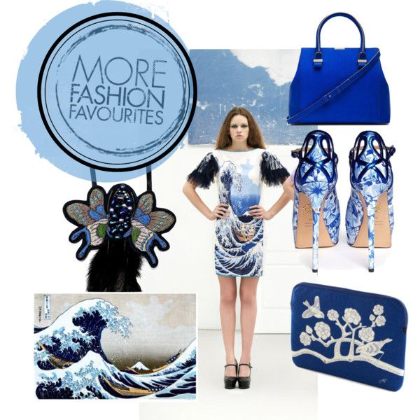 Japanese blue & white by natipureidea on Polyvore featuring Charlotte Olympia, Victoria Beckham, Disaster Designs and éS