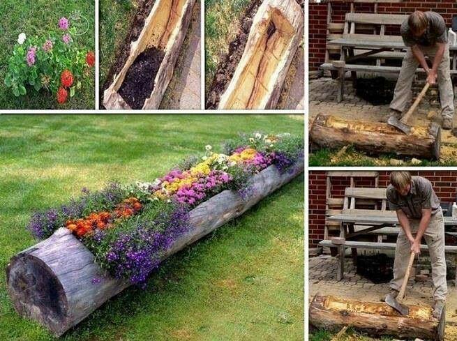 Holzstamm ausgehöhlt für Blumen