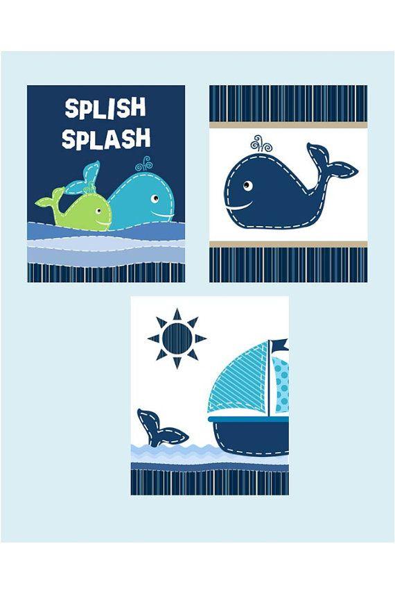 Whale Bathroom Art For Kids Set Of Four 8x10 By Littlepergola 45 00