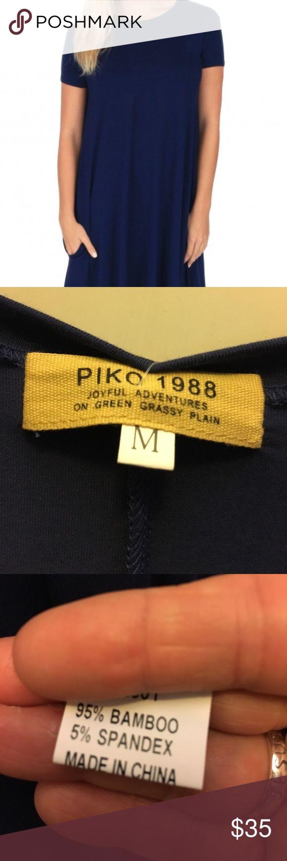 NWT Piko Dress with Pockets Piko Dress with Pockets size M Navy - brand new Piko Dresses Midi