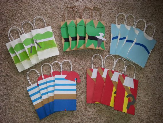 Peter Pan Party Favor Gift/Goodie  Bags!. I like that they  represent the different characters from Neverland! Wondering if I can make these for less.