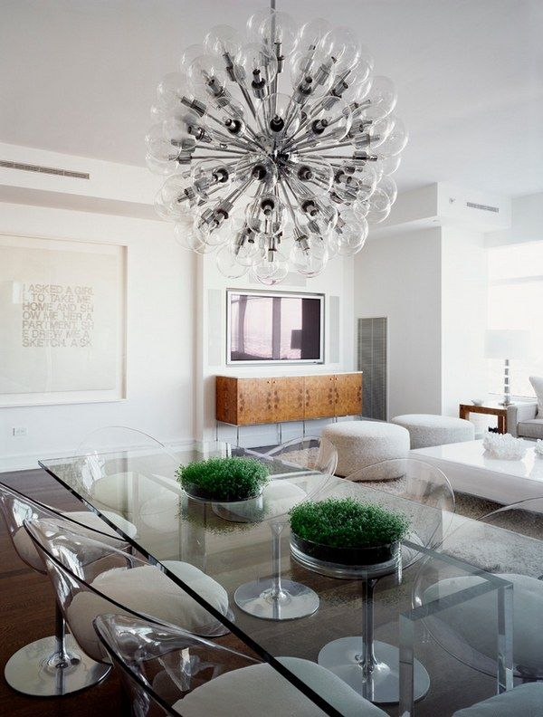 Wonderful Trendy Furniture Ideas Transparent Dining Furniture Table Chairs Modern  Chandelier