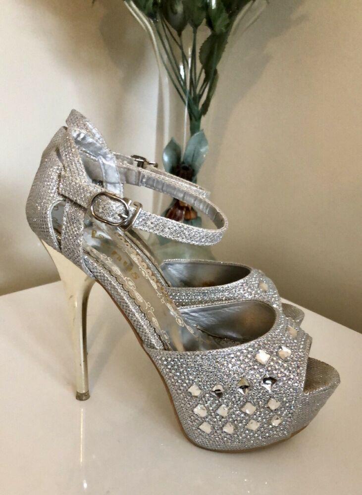 2e5630e68050 VENUS Platform Shoes Size 6 37 Silver Sparkly Embellished Open Toe Gold  Heel EC