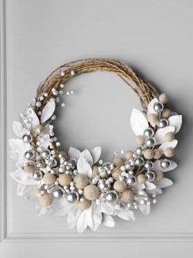 DIY Shabby Chic Christmas Ornaments   White wreath with Jingle Bells available at Horwchow.com.