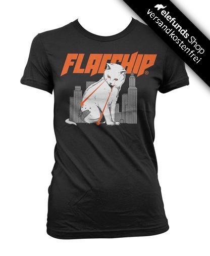 #Flacship - #Lasercat - Frauen T-Shirt - schwarz - 22,90€ - 100% cotton and fairtrade - Versand kostenlos