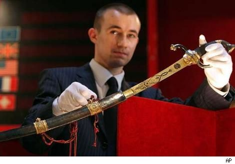 In the summer of 2007, a gold-encrusted sword that once belonged to Napoleon was auctioned off in France for more than $6.4 million dollars.  The sword was used by Napoleon in battle. The sword was passed down from generation to generation, never leaving the Bonaparte family.  In 1978, the sword was declared a national treasure in France and the winner of the auction was not identified.