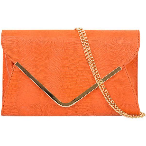 Orange Envelope Bag Large Clutch Bag Tangerine Evening Bag Ladies... ($20) ❤ liked on Polyvore featuring bags, handbags, envelope clutch, studded purse, envelope clutch bags, metal purse and flap handbags