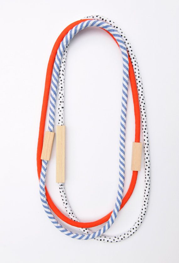 Wood and Fabric Necklaces by Love Harthorne #jewellery #accessories