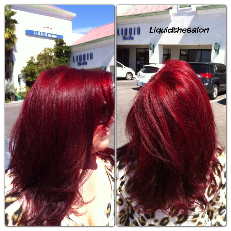 Cherry Red hair color, liquid the salon