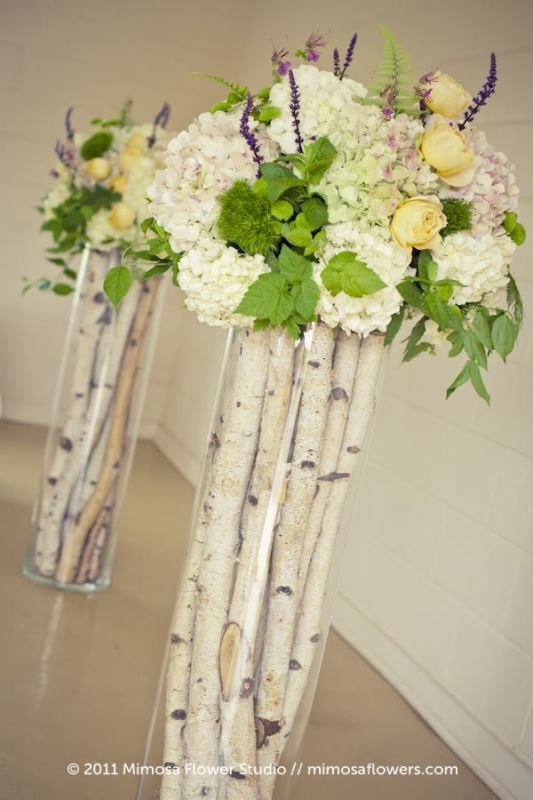 birch in tall glass vases