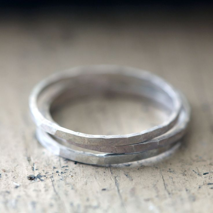Hammered Stacking Rings Sterling Silver by Praxis Jewelry
