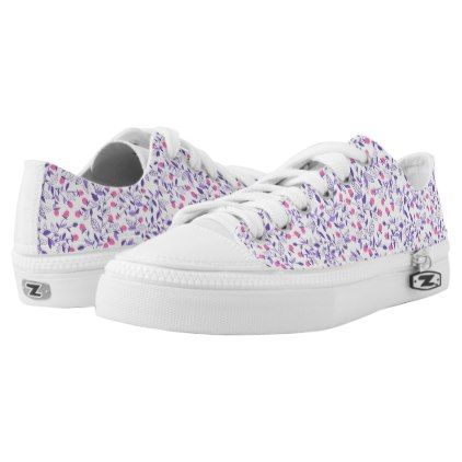 #Floral doodles pink and violet Low-Top sneakers - #womens #shoes #womensshoes #custom #cool