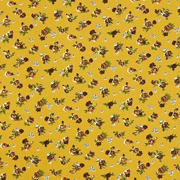 Viskózový žerzej vzor Luční květinky Lilly 6 – hořčicove žlutá